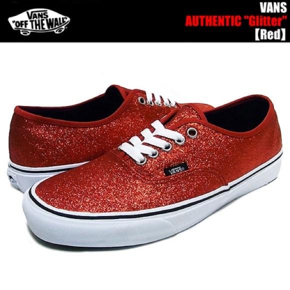 Vans Shoes | Red Glitter Vans | Poshmark